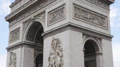 Famous symbol of  Paris France Arc de Triomphe   4K 2160p 30fps UltraHD tilt Stock Footage
