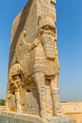 Persepolis Lamassu statues Stock Photos