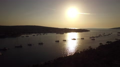Aerial - Sailboats moored in secluded bay Stock Footage