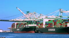4K, UHD, Cargo Container Ships Uploading and Unloading in Port of Los Angeles Stock Footage
