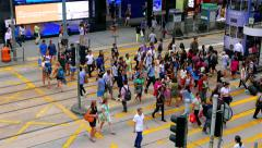HONG KONG - October 2015: People crossing street in city centre. 4K resolution. Stock Footage