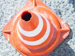 rubber traffic cone - stock photo