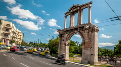 Athens - Hadrians gate (The Arc of Hadrian) Stock Footage