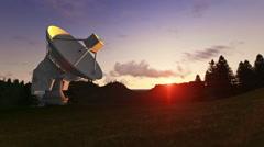 Satellite Antenna on Green Meadow, timelapse sunset Stock Footage
