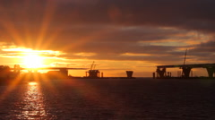 Sunset on the shore of the Gulf of Finland Stock Footage