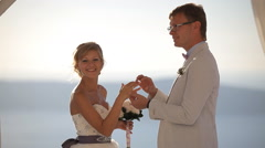 happy bride shows an engagement ring offers - stock footage