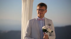 The groom is waiting for his bride Stock Footage