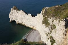 Cliff in Etretat, Cote d'Albatre, Pays de Caux, Seine-Maritime department, Up Stock Photos
