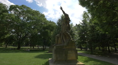 Libuse and Premysl statues in a park in Prague Stock Footage
