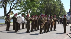Military army orchestra band play various instruments with leader. 4K Stock Footage