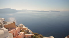 Church Cupolas and the Tower Bell from Santorini, Greece - stock footage