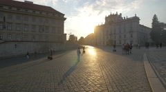 Stock Video Footage of The Archbishop's Palace at sunset in Prague