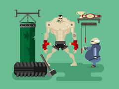 Boxer character in training - stock illustration