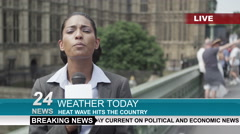 4K Female weather reporter doing live piece to camera outdoors in the city Arkistovideo