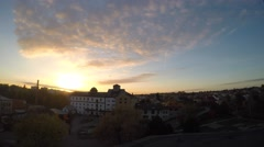 Sunset from top of the roof in a middle Europe town Stock Footage