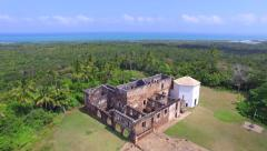 Aerial View of Casa da Torre de Garcia D'Avila in Praia do Forte, Bahia, Brazil - stock footage