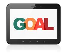 Advertising concept: Tablet Computer with Goal on  display Piirros