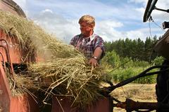 Stock Photo of Hay harvest, tractor harvesting hay baler, farmer repair Used farm equipment.