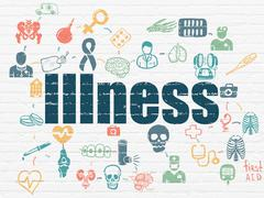 Healthcare concept: Illness on wall background Stock Illustration