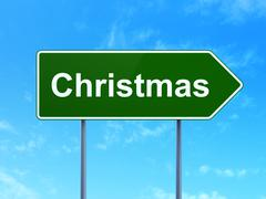 Stock Illustration of Entertainment, concept: Christmas on road sign background
