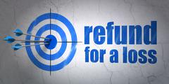 Insurance concept: target and Refund For A Loss on wall background - stock illustration