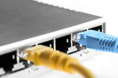 router with wires closeup - stock photo