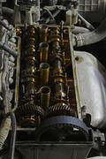 The internals of the engine under the valve cover Stock Photos