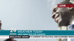 4k TV weather reporter interviewing 2 people outdoors in London on a sunny day Stock Footage