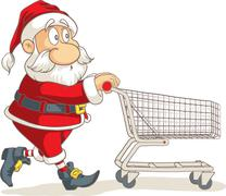 Santa Claus with Empty Shopping Cart Vector Cartoon Stock Illustration
