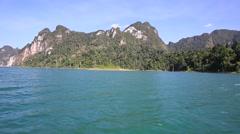 Boat travel in lake at Khao Sok National Park, Surat Thani, Thailand Stock Footage