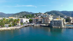 Aerial view of the Italian Riviera, Rapallo, Italy Stock Footage