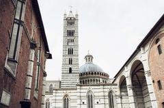 Cathedral with the bell tower in Siena, Italy - stock photo
