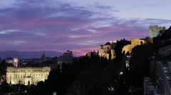 Malaga Landmarks Dusk to Night Stock Footage
