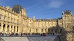 Paris, the Louvre museum and the pyramid Stock Footage