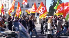 Paris, political protest march Stock Footage