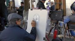 Paris, artist painter in Montmartre Stock Footage