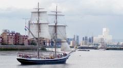 Historic tall sailing ship Stock Footage
