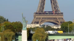 Statue of Liberty and Eiffel tower, Paris Stock Footage