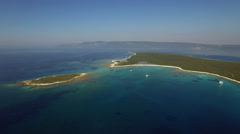 Aerial - Panoramic view of a seascape with an island - stock footage