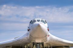 Cabin of supersonic aircraft made in Russia closeup. Front view Stock Photos