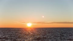 Red-orange sunset over the sea of clouds. Stock Footage