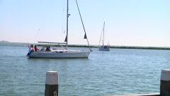 Hoorn Harbor with sailing yacht Stock Footage