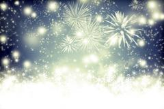 Abstract holiday background with fireworks and sparkling lights - stock photo