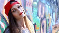 Teenage girl on the street Stock Footage