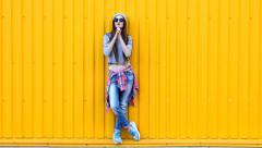Fashionable stylish girl on the street Stock Footage