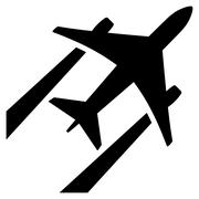 Air Jet Trace Flat Icon - stock illustration