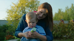 Mother and Son Exploding Party Popper Stock Footage