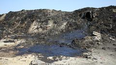 The former dump toxic waste in Ostrava, oil lagoon, Ostramo - stock photo