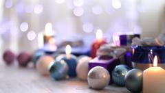 Christmas presents and ornaments, Background blinking lights - stock footage