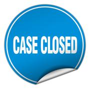 Stock Illustration of case closed round blue sticker isolated on white